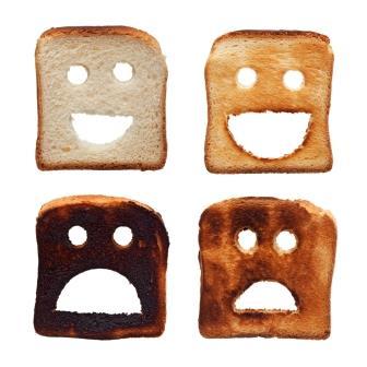burnt toast representing sunburn